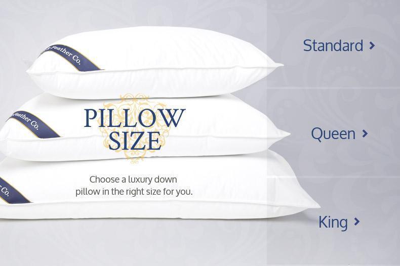 睡枕尺寸是Standard, Queen和King