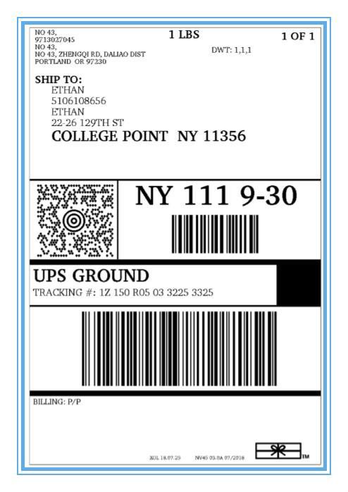 美国境内UPS运单