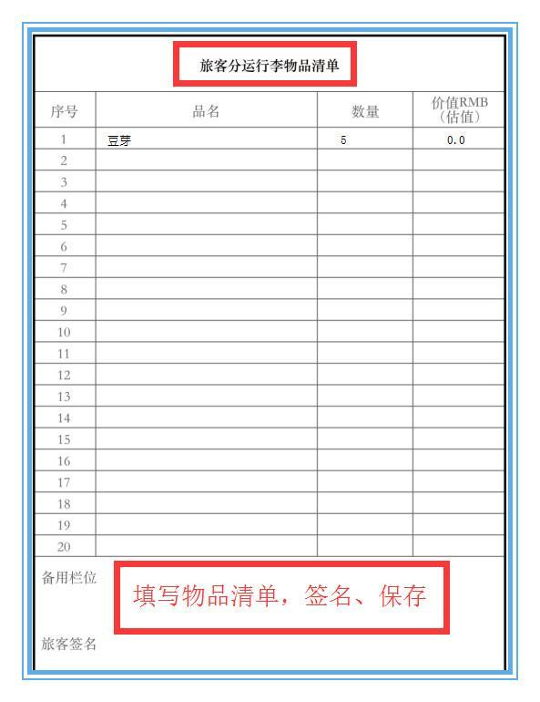 资料二:-旅客分运行李物品清单